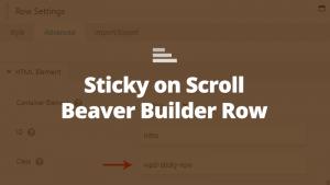 beaver row sticky on scroll
