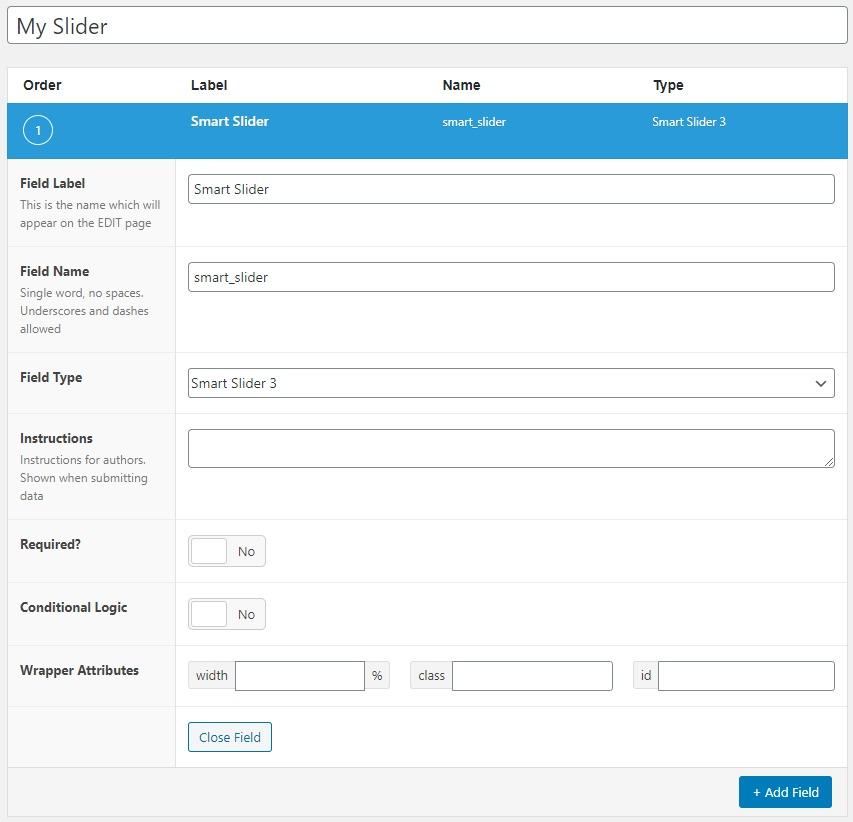 Register Smart Slider 3 type field